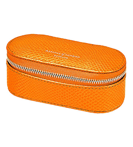 ASPINAL OF LONDON Lipstick & Handbag leather tidy all orange lizard (Orange