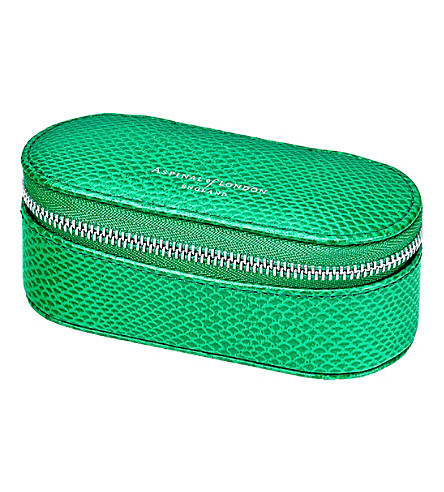 ASPINAL OF LONDON Lipstick & handbag tidy all grass green lizard (Green