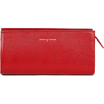ASPINAL Brush and cosmetic case (Red lizard & cream