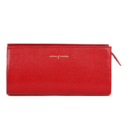 ASPINAL OF LONDON Small cosmetic case red lizard & cream s (Red
