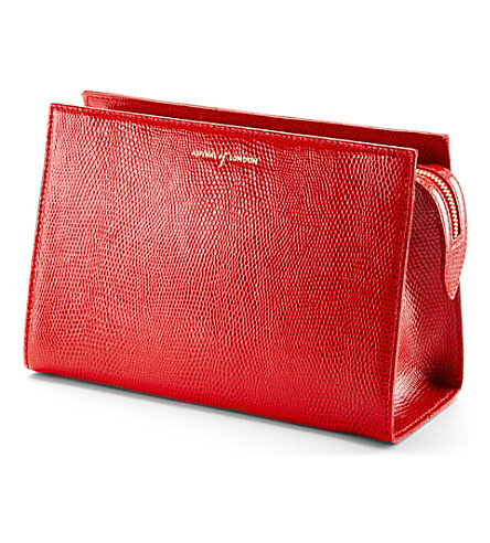 ASPINAL OF LONDON Medium cosmetic case red lizard & cream (Red