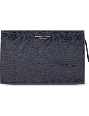 ASPINAL OF LONDON Medium leather lizard-embossed cosmetic case