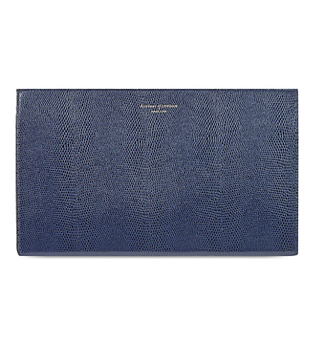 ASPINAL OF LONDON Large leather lizard-embossed cosmetic case (Navy