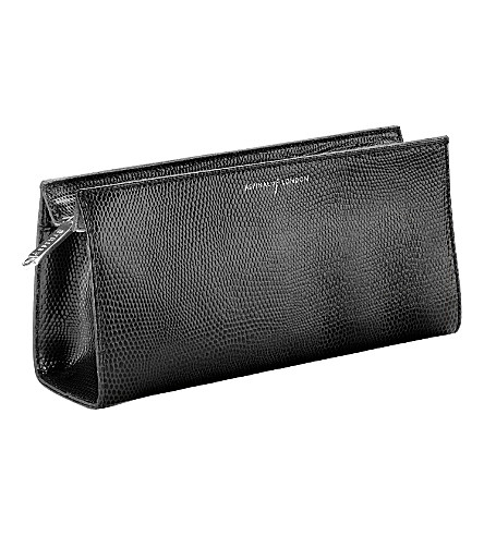 ASPINAL OF LONDON Small cosmetic case black lizard & purpl (Black