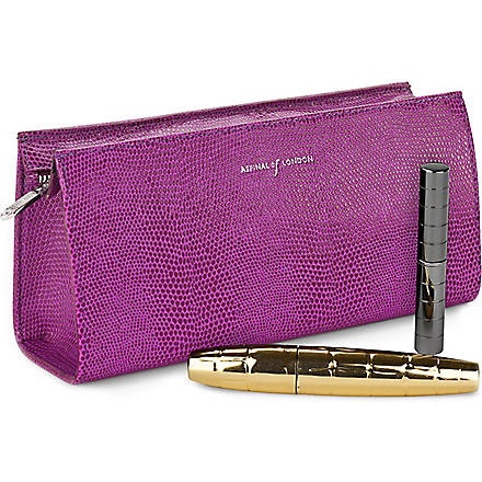 ASPINAL Brush and cosmetic case (Violet lizard&cream