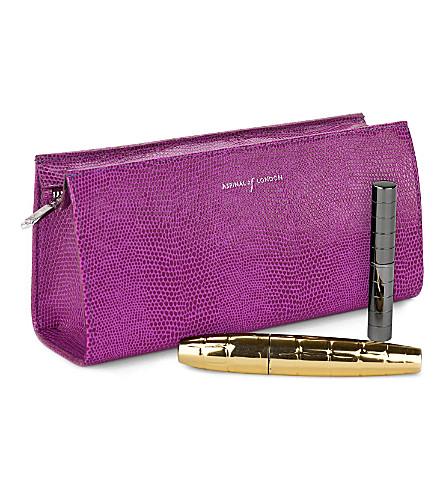 ASPINAL OF LONDON Small cosmetic case violet lizard & crea (Violet lizard&cream