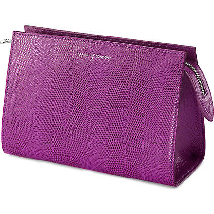 ASPINAL OF LONDON Medium cosmetic case with travel mirror (Violet lizard&cream