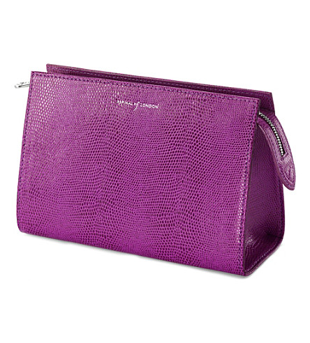 ASPINAL OF LONDON Medium cosmetic case violet lizard & cre (Violet lizard&cream