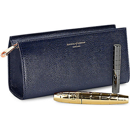 ASPINAL OF LONDON Small leather cosmetic case (Navy
