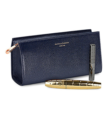 ASPINAL OF LONDON Small cosmetic case navy lizard & cream (Navy