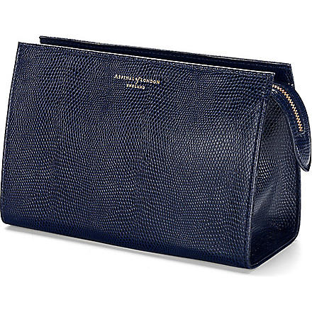 ASPINAL OF LONDON Medium lizard print leather cosmetic case (Navy