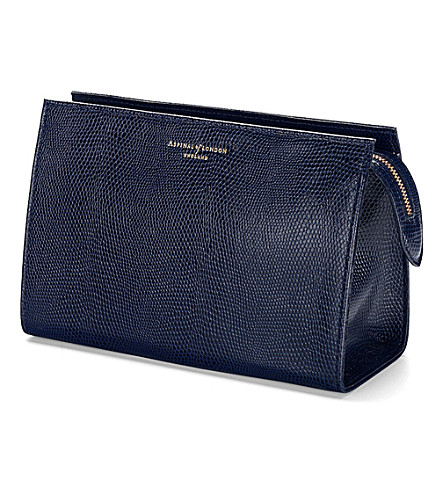 ASPINAL OF LONDON Medium cosmetic case navy lizard & cream (Navy