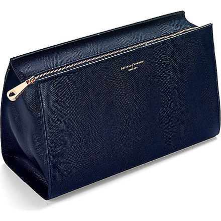 ASPINAL OF LONDON Large leather cosmetic case (Navy