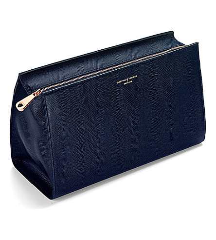 ASPINAL OF LONDON Large cosmetic case navy lizard & cream (Navy