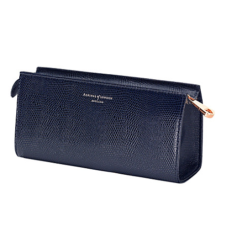 ASPINAL OF LONDON Small lizard-embossed leather cosmetic case (Blue