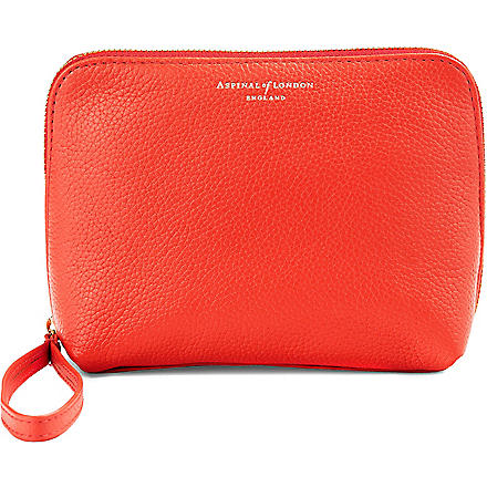 ASPINAL OF LONDON Hepburn leather wash bag (Poppy