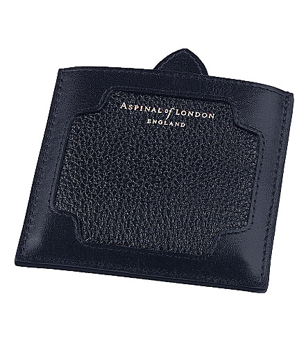 ASPINAL OF LONDON Marylebone pebble leather compact mirror (Navy