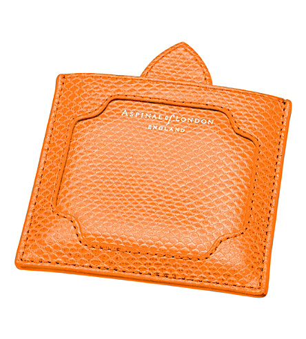 ASPINAL OF LONDON Marylebone leather compact mirror (Orange