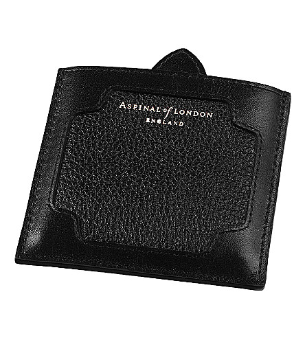 ASPINAL OF LONDON Marylebone pebble leather compact mirror (Black