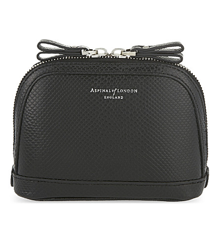 ASPINAL OF LONDON Hepburn small lizard-effect leather cosmetic case (Black
