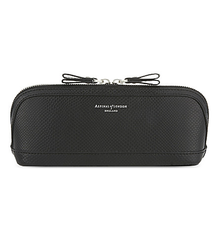 ASPINAL OF LONDON Hepburn medium lizard-effect leather cosmetic case (Black