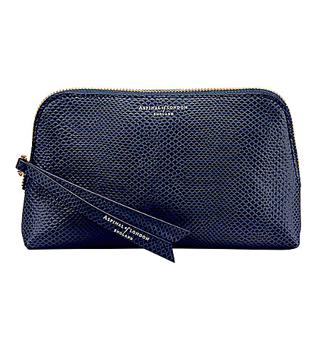 ASPINAL OF LONDON Essential lizard-embossed leather cosmetic case (Blue