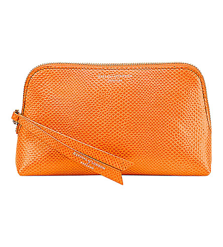 ASPINAL OF LONDON Essential lizard-embossed leather cosmetic case (Orange