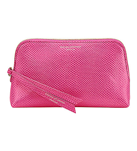 ASPINAL OF LONDON Essential lizard-embossed leather cosmetic case (Pink