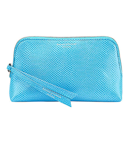 ASPINAL OF LONDON Essential lizard-embossed leather cosmetic case (Aqua