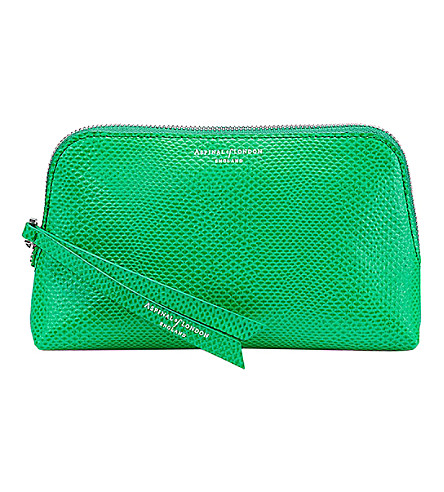 ASPINAL OF LONDON Essential lizard-embossed leather cosmetic case (Green