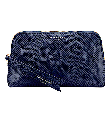 ASPINAL OF LONDON Essential leather cosmetic case (Blue