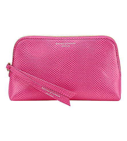 ASPINAL OF LONDON Essential leather cosmetic case (Raspberry
