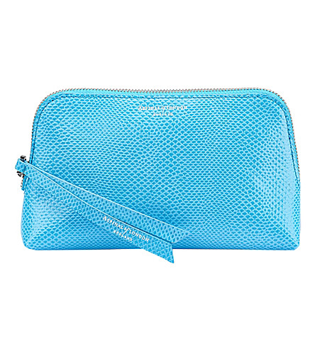 ASPINAL OF LONDON Essential leather cosmetic case (Aquamarine