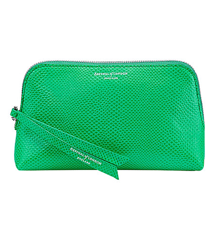 ASPINAL OF LONDON Essential leather cosmetic case (Green