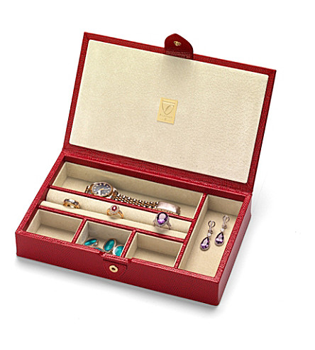 ASPINAL OF LONDON Paris jewellery boxes red lizard & cream (Red lizard & cream