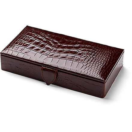 ASPINAL OF LONDON Cufflink box (Amazon brown &stone