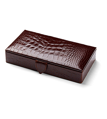 ASPINAL OF LONDON Men's cufflink box - amazon brown croc & (Amazon brown &stone
