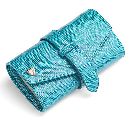 ASPINAL OF LONDON Leather jewellery roll (Turquoise & cream