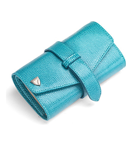 ASPINAL OF LONDON Jewellery roll turquoise lizard & cream (Turquoise & cream