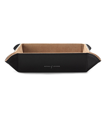 ASPINAL OF LONDON Medium tidy tray black ebl & stone suede (Smooth black&stone