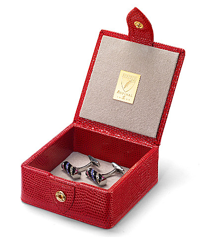 ASPINAL OF LONDON Stud box red lizard & cream suedesmall (Red