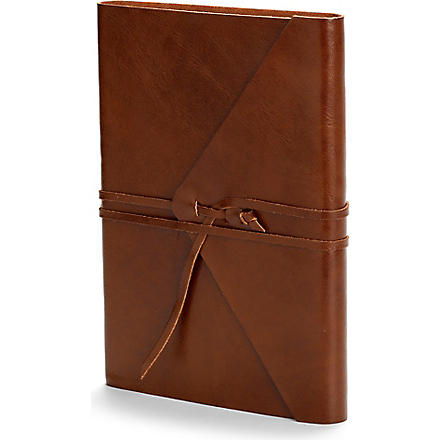 ASPINAL OF LONDON Envelope wrap large leather journal