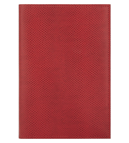 ASPINAL OF LONDON A5 lizard-embossed leather refillable journal (Berry