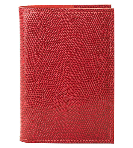 ASPINAL OF LONDON Lizard-effect A7 refillable leather journal (Berry
