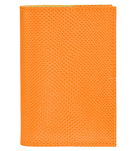 ASPINAL OF LONDON Lizard-effect A7 refillable leather journal (Orange