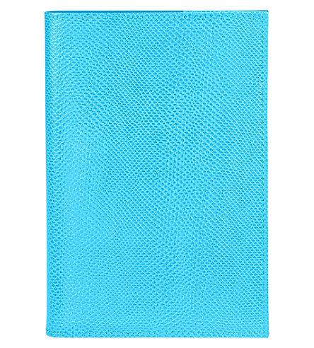 ASPINAL OF LONDON A5 refillable reptile-embossed leather journal (Aquamarine