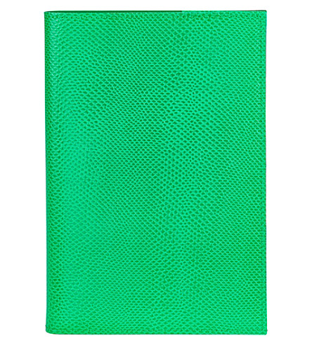 ASPINAL OF LONDON A5 refillable reptile-embossed leather journal (Green