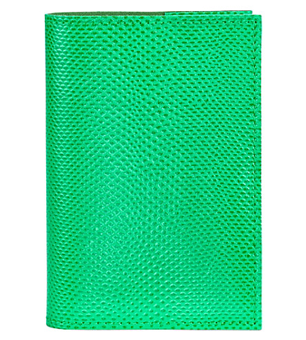 ASPINAL OF LONDON Refillable reptile-embossed leather journal (Green