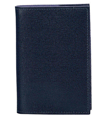 ASPINAL OF LONDON Saffiano A7 refillable leather journal (Navy