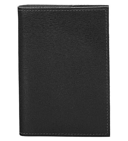 ASPINAL OF LONDON Saffiano A7 refillable leather journal (Black
